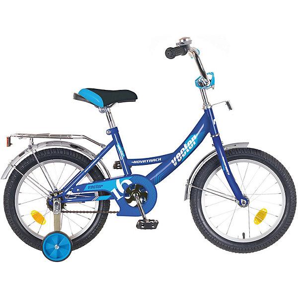Велосипед Novatrack 16, VECTOR, синийВелосипеды детские<br>Характеристики товара:<br><br>• возраст: от 5 лет;<br>• материал рамы: сталь;<br>• материал крыльев: сталь;<br>• материал обода: алюминий;<br>• диаметр колес: 16 дюймов;<br>• тип колес: резиновые;<br>• ножной тормоз;<br>• жесткая вилка;<br>• багажник;<br>• звонок на руле;<br>• регулировка высоты сидения и руля;<br>• вес велосипеда: 9,4 кг;<br>• размер упаковки: 91х42х19 см;<br>• вес упаковки: 12 кг;<br>• страна бренда: Россия.<br><br>Велосипед Novatrack Vector 16 синий подойдет для детей от 5 лет. 2 маленьких съемных колеса придают ему дополнительной устойчивости. Они же подойдут для передвижений на сложном участке или пересеченной местности. Благодаря им дети будут увереннее чувствовать себя и научатся держать равновесие.<br><br>Руль и сидение регулируются по высоте под рост ребенка. На ручках руля имеются нескользящие грипсы, обеспечивающие хороший захват и препятствующие соскальзыванию ладоней во время езды. При помощи звоночка на руле ребенок будет предупреждать прохожих о передвижении.<br><br>Для безопасного катания предусмотрен ножной тормоз. На цепи расположена защита, препятствующая попаданию ноги или одежды в механизм. Сзади багажник, на котором можно перевозить небольшие вещи и игрушки.<br><br>Велосипед Novatrack Vector 16 синий можно приобрести в нашем интернет-магазине.<br>Ширина мм: 910; Глубина мм: 190; Высота мм: 420; Вес г: 12000; Цвет: синий; Возраст от месяцев: 60; Возраст до месяцев: 84; Пол: Унисекс; Возраст: Детский; SKU: 7684632;