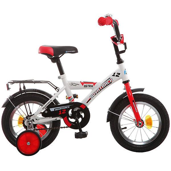 Велосипед Novatrack 12, ASTRA, белыйВелосипеды детские<br>Характеристики товара:<br><br>• возраст: от 2 лет;<br>• материал рамы: сталь;<br>• материал крыльев: сталь;<br>• диаметр колес: 12 дюймов;<br>• тип колес: резиновые;<br>• ножной тормоз;<br>• жесткая вилка;<br>• багажник;<br>• вес велосипеда: 8,3 кг;<br>• размер упаковки: 81х41х18,5 см;<br>• вес упаковки: 9,5 кг;<br>• страна бренда: Россия.<br><br>Велосипед Novatrack Astra 12 белый — легкий и маневренный велосипед, на котором детям от 2 лет будет легко обучаться катанию. Специально для самых юных пользователей на велосипеде предусмотрены 2 маленьких съемных колеса, которые придают ему дополнительной устойчивости. Такая конструкция позволит детям обучаться катанию и сохранять равновесие. <br><br>Велосипед имеет особую геометрию и конструкцию рамы, так чтобы детям было легко садиться на велосипед и слазить с него. Для безопасного катания предусмотрен ножной тормоз и ограничитель руля, который не даст ребенку сделать слишком крутой поворот. На цепи расположена защита, препятствующая попаданию ноги или одежды в механизм.<br><br>Велосипед Novatrack Astra 12 белый можно приобрести в нашем интернет-магазине.<br>Ширина мм: 810; Глубина мм: 185; Высота мм: 410; Вес г: 9500; Цвет: белый; Возраст от месяцев: 24; Возраст до месяцев: 48; Пол: Мужской; Возраст: Детский; SKU: 7684634;