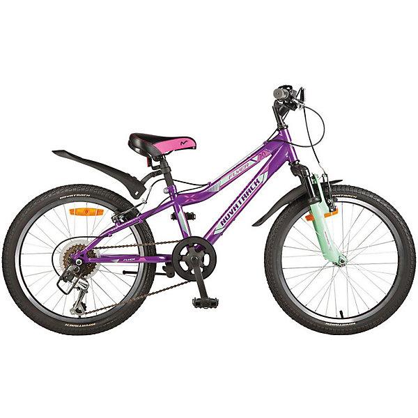 Велосипед Novatrack 20 FLYER, фиолетовыйВелосипеды детские<br>Характеристики товара:<br><br>• возраст: от 7 лет;<br>• количество скоростей: 12;<br>• материал рамы: сталь;<br>• материал крыльев: пластик;<br>• материал обода: алюминий;<br>• диаметр колес: 20 дюймов;<br>• тип колес: резиновые;<br>• тормоз V Brake;<br>• амортизирующая вилка;<br>• задний переключатель Shimano TY-21;<br>• регулировка высоты сидения и руля;<br>• размер упаковки: 110х52х19 см;<br>• вес упаковки: 14 кг;<br>• страна бренда: Россия.<br><br>Велосипед Novatrack Flyer 20 фиолетовый — 12-скоростной велосипед для детей от 7 лет для приучения их к самостоятельному катанию. Руль и сидение регулируются по высоте под рост пользователя. На велосипеде сразу 2 тормоза: передний и задний, отвечающие за безопасное катание и гарантирующие быстрое торможение. Рама выполнена из качественной прочной стали.<br><br>Велосипед Novatrack Flyer 20 фиолетовый можно приобрести в нашем интернет-магазине.<br>Ширина мм: 1100; Глубина мм: 190; Высота мм: 520; Вес г: 14000; Цвет: фиолетовый; Возраст от месяцев: 84; Возраст до месяцев: 120; Пол: Унисекс; Возраст: Детский; SKU: 7684636;