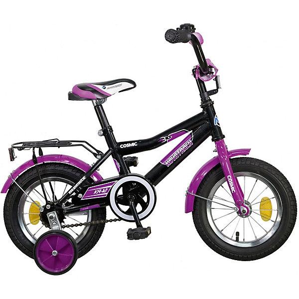 Велосипед Novatrack 12, COSMIC, черныйВелосипеды детские<br>Характеристики товара:<br><br>• возраст: от 2 лет;<br>• материал рамы: сталь;<br>• материал крыльев: сталь;<br>• диаметр колес: 12 дюймов;<br>• тип колес: резиновые;<br>• ножной тормоз;<br>• жесткая вилка;<br>• багажник;<br>• звонок на руле;<br>• регулировка высоты сидения и руля;<br>• вес велосипеда: 8,3 кг;<br>• размер упаковки: 81х41х18,5 см;<br>• вес упаковки: 9,5 кг;<br>• страна бренда: Россия.<br><br>Велосипед Novatrack Cosmic 12 черный — легкий и маневренный велосипед, на котором детям от 2 лет будет легко обучаться катанию. Специально для самых юных пользователей на велосипеде предусмотрены 2 маленьких съемных колеса, которые придают ему дополнительной устойчивости. Такая конструкция позволит детям обучаться катанию и сохранять равновесие. <br><br>Руль и сидение регулируются по высоте, адаптируясь под рост ребенка. На ручках руля имеются нескользящие грипсы, обеспечивающие хороший захват и препятствующие соскальзыванию ладоней во время езды. При помощи звоночка ребенок сможет предупреждать прохожих о передвижении. <br><br>Велосипед имеет особую геометрию и конструкцию рамы, так чтобы детям было легко садиться на велосипед и слазить с него. Для безопасного катания предусмотрен ножной тормоз и ограничитель руля, который не даст ребенку сделать слишком крутой поворот. На цепи расположена защита, препятствующая попаданию ноги или одежды в механизм.<br><br>Велосипед Novatrack Cosmic 12 черный можно приобрести в нашем интернет-магазине.<br>Ширина мм: 810; Глубина мм: 185; Высота мм: 410; Вес г: 9500; Цвет: черный; Возраст от месяцев: 24; Возраст до месяцев: 48; Пол: Женский; Возраст: Детский; SKU: 7684642;