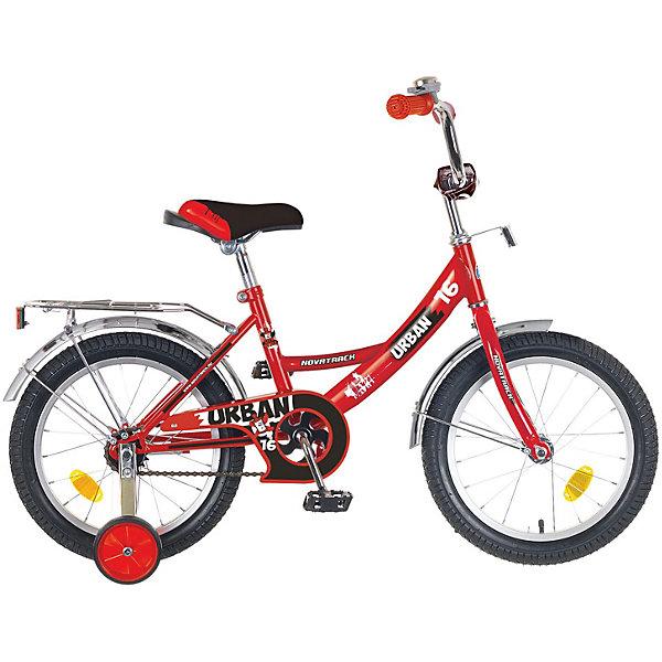 Велосипед Novatrack 16, URBAN, красныйВелосипеды детские<br>Характеристики товара:<br><br>• возраст: от 5 лет;<br>• материал рамы: сталь;<br>• материал крыльев: сталь;<br>• материал обода: алюминий;<br>• диаметр колес: 16 дюймов;<br>• тип колес: резиновые;<br>• ножной тормоз;<br>• жесткая вилка;<br>• багажник;<br>• светоотражатели;<br>• вес велосипеда: 9,8 кг;<br>• размер упаковки: 91х42х19 см;<br>• вес упаковки: 12 кг;<br>• страна бренда: Россия.<br><br>Велосипед Novatrack Urban 16 красный — легкий и маневренный велосипед, на котором детям легко обучаться катанию. 2 съемных маленьких колеса придают ему дополнительной устойчивости. Такая конструкция позволит детям обучаться катанию и сохранять равновесие. На цепи расположена защита, препятствующая попаданию ноги или одежды в механизм. 4 светоотражающих элемента гарантируют видимость при перемещении на темной дороге. Крылья колес защищают ребенка от брызг и загрязнений.<br><br>Велосипед Novatrack Urban 16 красный можно приобрести в нашем интернет-магазине.<br>Ширина мм: 910; Глубина мм: 190; Высота мм: 420; Вес г: 12000; Цвет: красный; Возраст от месяцев: 60; Возраст до месяцев: 84; Пол: Унисекс; Возраст: Детский; SKU: 7684646;