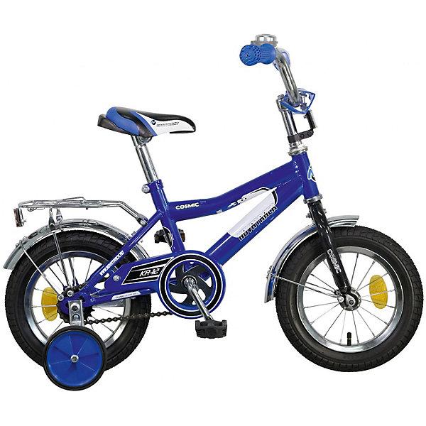 Велосипед Novatrack 12, COSMIC, синийВелосипеды и аксессуары<br>Характеристики товара:<br><br>• возраст: от 2 лет;<br>• материал рамы: сталь;<br>• материал крыльев: сталь;<br>• диаметр колес: 12 дюймов;<br>• тип колес: резиновые;<br>• ножной тормоз;<br>• жесткая вилка;<br>• багажник;<br>• звонок на руле;<br>• регулировка высоты сидения и руля;<br>• вес велосипеда: 8,3 кг;<br>• размер упаковки: 81х41х18,5 см;<br>• вес упаковки: 9,5 кг;<br>• страна бренда: Россия.<br><br>Велосипед Novatrack Cosmic 12 синий — легкий и маневренный велосипед, на котором детям от 2 лет будет легко обучаться катанию. Специально для самых юных пользователей на велосипеде предусмотрены 2 маленьких съемных колеса, которые придают ему дополнительной устойчивости. Такая конструкция позволит детям обучаться катанию и сохранять равновесие. <br><br>Руль и сидение регулируются по высоте, адаптируясь под рост ребенка. На ручках руля имеются нескользящие грипсы, обеспечивающие хороший захват и препятствующие соскальзыванию ладоней во время езды. При помощи звоночка ребенок сможет предупреждать прохожих о передвижении. <br><br>Велосипед имеет особую геометрию и конструкцию рамы, так чтобы детям было легко садиться на велосипед и слазить с него. Для безопасного катания предусмотрен ножной тормоз и ограничитель руля, который не даст ребенку сделать слишком крутой поворот. На цепи расположена защита, препятствующая попаданию ноги или одежды в механизм.<br><br>Велосипед Novatrack Cosmic 12 синий можно приобрести в нашем интернет-магазине.<br>Ширина мм: 810; Глубина мм: 185; Высота мм: 410; Вес г: 9500; Цвет: синий; Возраст от месяцев: 24; Возраст до месяцев: 48; Пол: Мужской; Возраст: Детский; SKU: 7684648;