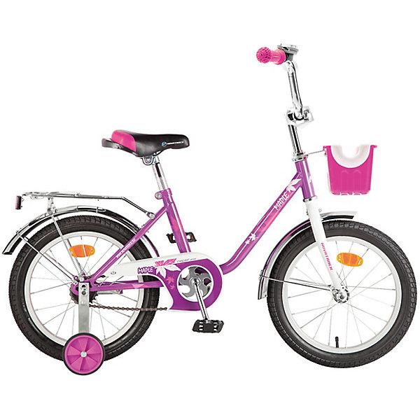 Велосипед Novatrack 16 MAPLE, сиреневыйВелосипеды детские<br>Характеристики товара:<br><br>• возраст: от 5 лет;<br>• материал рамы: сталь;<br>• материал крыльев: сталь;<br>• материал обода: алюминий;<br>• диаметр колес: 16 дюймов;<br>• тип колес: резиновые;<br>• ножной тормоз;<br>• жесткая вилка;<br>• звонок на руле;<br>• регулировка высоты сидения и руля;<br>• вес велосипеда: 11,4 кг;<br>• размер упаковки: 91х42х19 см;<br>• вес упаковки: 12 кг;<br>• страна бренда: Россия.<br><br>Велосипед Novatrack Maple 16 сиреневый подойдет для детей от 5 лет. 2 маленьких съемных колеса придают ему дополнительной устойчивости. Они же подойдут для передвижений на сложном участке или пересеченной местности. Благодаря им дети будут увереннее чувствовать себя и научатся держать равновесие.<br><br>Руль и сидение регулируются по высоте под рост ребенка. На ручках руля имеются нескользящие грипсы, обеспечивающие хороший захват и препятствующие соскальзыванию ладоней во время езды. При помощи звоночка на руле ребенок будет предупреждать прохожих о передвижении. Ножной тормоз гарантирует безопасную езду и быстрое торможение. На цепи расположена защита, препятствующая попаданию ноги или одежды в механизм. <br><br>Велосипед Novatrack Maple 16 сиреневый можно приобрести в нашем интернет-магазине.<br>Ширина мм: 910; Глубина мм: 190; Высота мм: 420; Вес г: 12000; Цвет: фиолетовый; Возраст от месяцев: 60; Возраст до месяцев: 84; Пол: Женский; Возраст: Детский; SKU: 7684650;