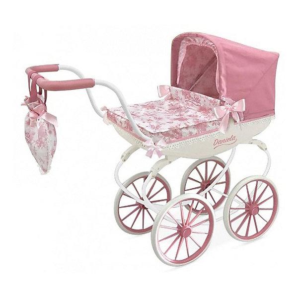 Коляска  DeCuevas Даниэла с сумкой, 68смТранспорт и коляски для кукол<br>Характеристики:<br><br>-Возраст: от 3 лет.<br>-Комплектация: коляска, сумка, подушка.<br>-Цвет: розовый.<br>-Материал: металл, пластик, текстиль, резина.<br>-Размер подходящей куклы: не более 55 см.<br>-Размер коляски: 80 х 68 х 30 см<br>-Высота ручки: 68 см.<br>-Упаковка: картонная коробка.<br>-Страна бренда: Испания.<br><br>Стильная коляска для куклы выполнена в виде коляски-люльки на классическом шасси и дополнена стильной сумочкой для мамы. Внутри уже есть подушка для куклы.<br><br>Коляска выполнена с использованием двух цветовых оттенков: белого и розового. Кроме того, она украшена декоративной вышивкой с цветочками, кружевами и бантиками.<br><br>Благодаря металлическому корпусу коляска отличается высокой прочностью и долговечностью. А 4 прорезиненных колесах хорошо сглаживают различные неровности на дороге. На ручку коляски крепится сумка для мамы, в которую можно будет сложить различные мелочи и необходимые для куклы вещи. Кроме того,отделка ручки выполнена из мягкого материала, приятного на ощупь.<br><br>Коляску DeCuevas Даниэла с сумкой, 68см можно купить в нашем интернет-магазине.<br>Ширина мм: 330; Глубина мм: 295; Высота мм: 620; Вес г: 3300; Цвет: розовый; Возраст от месяцев: 36; Возраст до месяцев: 2147483647; Пол: Женский; Возраст: Детский; SKU: 7684815;