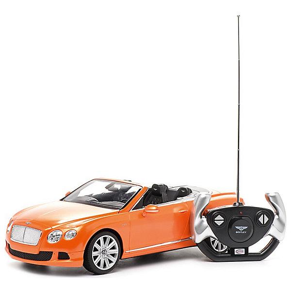Радиоуправляемая машинка Rastar Bentley Continetal GT , 1:12, оранжеваяРадиоуправляемые машины<br>Характеристики:<br><br>• радиоуправляемая машинка;<br>• масштаб: 1:12;<br>• модель машины: Bentley Continetal GT;<br>• цвет: оранжевый;<br>• проработка деталей;<br>• световые эффекты;<br>• дистанционный пульт в виде руля;<br>• работа пульта на частоте 40 MHz;<br>• радиус действия пульта: до 30 метров;<br>• направление движения: влево-вправо, вперед-назад, полная остановка;<br>• тип батареек: 5 х АА + 1 Крона х 9V типа 6F22;<br>• батарейки приобретаются отдельно;<br>• материал: металл;<br>• размер упаковки: 50,5х20,5х22,5 см;<br>• длина модели: 36 см;<br>• вес: 1460 г.<br><br>Радиоуправляемая машинка Bentley Continetal GT в металлическом корпусе выполнена в спортивном стиле. Оранжевый цвет придает модели дерзость и показывает оптимистический настрой своего хозяина. Машинка с открытым верхом позволяет рассмотреть устройство салона, панель управления, качество проработки мелких деталей. Машинка изготовлена в полном соответствии с моделью-прототипом, уменьшена и детализирована в масштабе 1:12.  <br><br>Радиоуправляемая машинка Rastar «Bentley Continetal GT», 1:12, оранжевая можно купить в нашем интернет-магазине.<br>Ширина мм: 500; Глубина мм: 220; Высота мм: 205; Вес г: 1048; Цвет: оранжевый; Возраст от месяцев: 36; Возраст до месяцев: 180; Пол: Мужской; Возраст: Детский; SKU: 7685574;