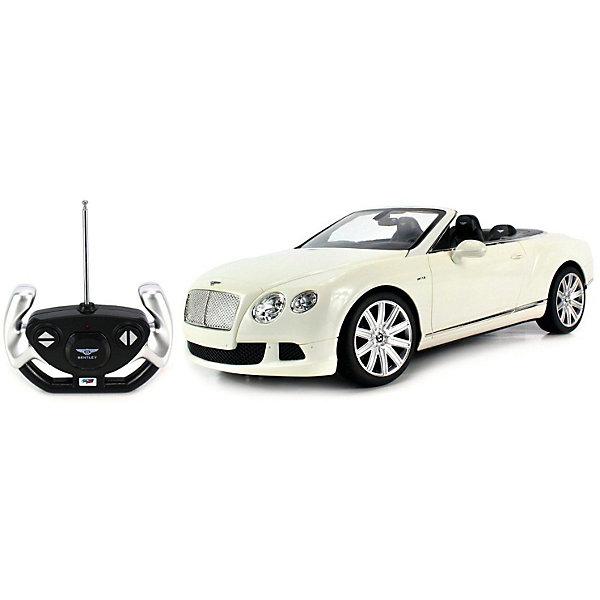 Радиоуправляемая машинка Rastar Bentley Continetal GT , 1:12, белаяРадиоуправляемые машины<br>Характеристики:<br><br>• радиоуправляемая машинка;<br>• масштаб: 1:12;<br>• модель машины: Bentley Continetal GT;<br>• цвет: белый;<br>• проработка деталей;<br>• световые эффекты;<br>• дистанционный пульт в виде руля;<br>• работа пульта на частоте 40 MHz;<br>• радиус действия пульта: до 30 метров;<br>• направление движения: влево-вправо, вперед-назад, полная остановка;<br>• тип батареек: 5 х АА + 1 Крона х 9V типа 6F22;<br>• батарейки приобретаются отдельно;<br>• материал: металл;<br>• размер упаковки: 50,5х20,5х22,5 см;<br>• длина модели: 36 см;<br>• вес: 1460 г.<br><br>Радиоуправляемая машинка Bentley Continetal GT в металлическом корпусе выполнена в спортивном стиле. Белый цвет придает модели парадный представительский вид. Машинка с открытым верхом позволяет рассмотреть устройство салона, панель управления, качество проработки мелких деталей. Машинка изготовлена в полном соответствии с моделью-прототипом, уменьшена и детализирована в масштабе 1:12.  <br><br>Радиоуправляемая машинка Rastar «Bentley Continetal GT», 1:12, белая можно купить в нашем интернет-магазине.<br>Ширина мм: 500; Глубина мм: 220; Высота мм: 205; Вес г: 1048; Цвет: белый; Возраст от месяцев: 36; Возраст до месяцев: 180; Пол: Мужской; Возраст: Детский; SKU: 7685580;
