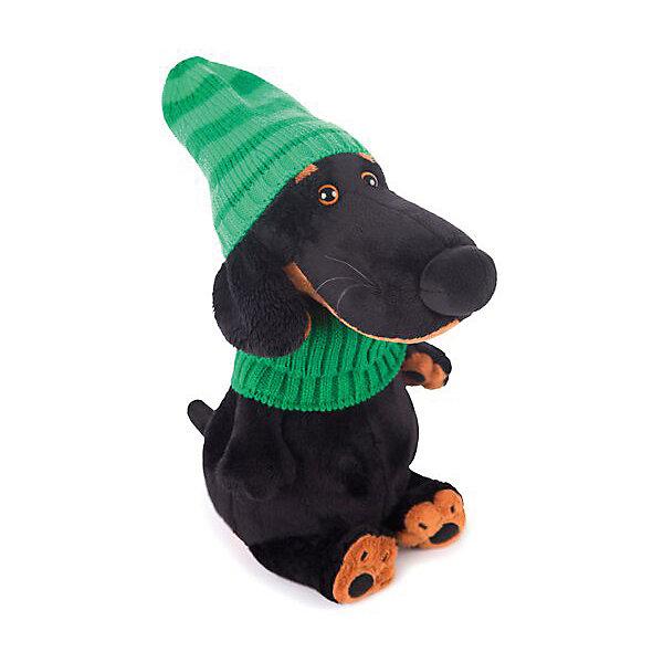 Мягкая игрушка Budi Basa Ваксон в зеленой шапке и шарфе, 25смМягкие игрушки-собаки<br>Характеристики:<br><br>• возраст: 3+;<br>• цвет: черный; <br>• высота игрушки: 25 см;<br>• материал: искусственный мех, текстиль, пластик;<br>• габариты упаковки: 18х16х13 см;<br>• тип упаковки: картонная коробка открытого типа;<br>• вес в упаковке: 448 г.<br><br>Ваксон – необычайно умный и воспитанный пес. Симпатичная собачка-такса выполнена из искусственного меха натуральных цветов. Материал очень нежный и приятный на ощупь. Благодаря комбинированной набивке, игрушку удобно держать в руках, играть и спать с ней.<br><br>На голове у собачки вязаная шапочка зеленого цвета, а на шее – шарфик. Каждый песик из коллекции имеет свой неповторимый стиль. <br><br>Симпатичная игрушка обязательно порадует не только малышей, но и взрослых. Мягкая собачка в фирменной упаковке – хороший подарок к празднику.<br><br>Мягкую игрушку «Ваксон в зеленой шапке и шарфе, 25 см», Budi Basa можно приобрести в нашем интернет-магазине.<br>Ширина мм: 180; Глубина мм: 160; Высота мм: 130; Вес г: 448; Цвет: черный; Возраст от месяцев: 36; Возраст до месяцев: 168; Пол: Унисекс; Возраст: Детский; SKU: 7685906;