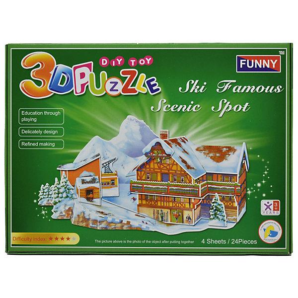 3D пазлы Funny Горнолыжный курорт, 24 детали3D пазлы<br>Характеристики товара:<br><br>• возраст: от 3 лет;<br>• материал: ламинированный пенокартон;<br>• в комплекте: 24 деталей, инструкция;<br>• размер упаковки: 29х21х2,5 см;<br>• вес упаковки: 225 гр.<br><br>3D пазлы Funny Горнолыжный курорт -  это увлекательное хобби, в котором ребенок сможет собрать домик на горнолыжном курорте.<br><br>Помимо творческого мышления, сборка поможет развить логику, внимательность и усидчивость.<br><br>Пронумерованные детали не требуют для сборки клея и ножниц.<br><br>3D пазлы Funny Горнолыжный курорт можно купить в нашем интернет-магазине.<br>Ширина мм: 295; Глубина мм: 25; Высота мм: 215; Вес г: 220; Возраст от месяцев: 36; Возраст до месяцев: 2147483647; Пол: Унисекс; Возраст: Детский; SKU: 7686220;