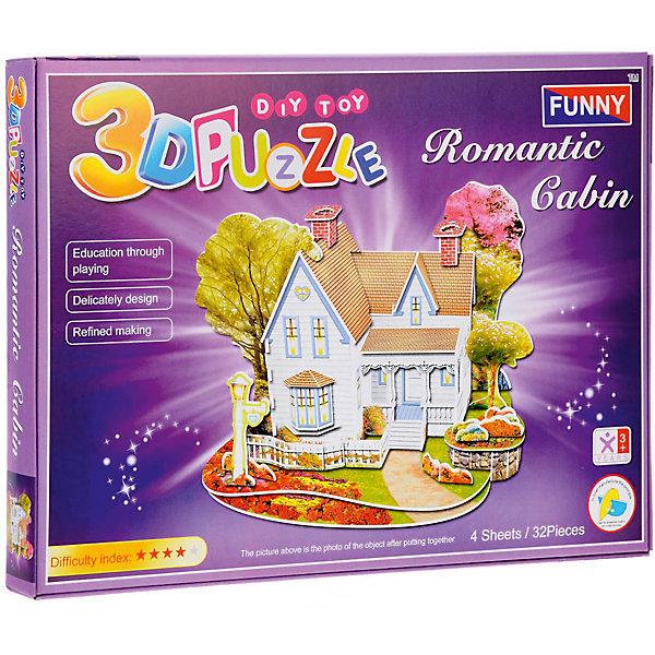 3D пазлы Funny Романтический дом, 32 детали3D пазлы<br>Характеристики товара:<br><br>• возраст: от 3 лет;<br>• материал: ламинированный пенокартон;<br>• в комплекте: 32 деталей, инструкция;<br>• размер упаковки: 29х21х2,5 см;<br>• вес упаковки: 225 гр.<br><br>3D пазлы Funny Романтический дом -  это увлекательное хобби, в котором ребенок сможет собрать уютный романтический домик.<br><br>Помимо творческого мышления, сборка поможет развить логику, внимательность и усидчивость.<br><br>Пронумерованные детали не требуют для сборки клея и ножниц.<br><br>3D пазлы Funny Романтический дом можно купить в нашем интернет-магазине.<br>Ширина мм: 295; Глубина мм: 25; Высота мм: 215; Вес г: 220; Возраст от месяцев: 36; Возраст до месяцев: 2147483647; Пол: Унисекс; Возраст: Детский; SKU: 7686222;