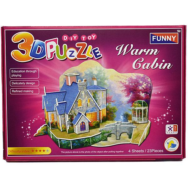 3D пазлы Funny Теплый дом, 23 деталей3D пазлы<br>Характеристики товара:<br><br>• возраст: от 3 лет;<br>• материал: ламинированный пенокартон;<br>• в комплекте: 23 деталей, инструкция;<br>• размер упаковки: 29х21х2,5 см;<br>• вес упаковки: 225 гр.<br><br>3D пазлы Funny Теплый дом -  это увлекательное хобби, в котором ребенок сможет собрать уютный теплый домик.<br><br>Помимо творческого мышления, сборка поможет развить логику, внимательность и усидчивость.<br><br>Пронумерованные детали не требуют для сборки клея и ножниц.<br><br>3D пазлы Funny Теплый дом можно купить в нашем интернет-магазине.<br>Ширина мм: 295; Глубина мм: 25; Высота мм: 215; Вес г: 220; Возраст от месяцев: 36; Возраст до месяцев: 2147483647; Пол: Унисекс; Возраст: Детский; SKU: 7686224;