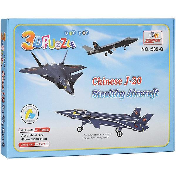 3D пазлы Zilipoo Самолет J-20 Стелс, 41 деталь3D пазлы<br>Характеристики товара:<br><br>• возраст: от 3 лет;<br>• материал: ламинированный пенокартон;<br>• в комплекте: 41 деталей, инструкция;<br>• размер упаковки: 29х21х2,5 см;<br>• вес упаковки: 225 гр.<br><br>3D пазлы Funny Самолет J-20 Стелс -  это увлекательное хобби, в котором ребенок сможет собрать скоростной самолет.<br><br>Помимо творческого мышления, сборка поможет развить логику, внимательность и усидчивость.<br><br>Пронумерованные детали не требуют для сборки клея и ножниц.<br><br>3D пазлы Funny Самолет J-20 Стелс можно купить в нашем интернет-магазине.<br>Ширина мм: 295; Глубина мм: 25; Высота мм: 215; Вес г: 220; Возраст от месяцев: 36; Возраст до месяцев: 2147483647; Пол: Унисекс; Возраст: Детский; SKU: 7686226;