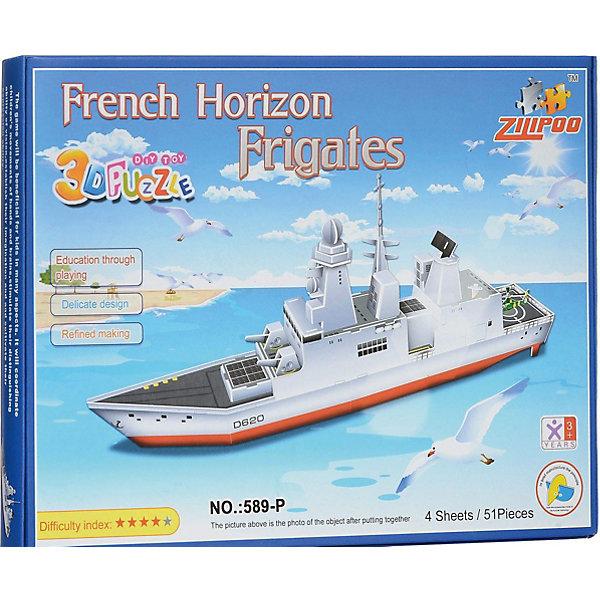 3D пазлы Zilipoo Французский фрегат, 51 деталь3D пазлы<br>Характеристики товара:<br><br>• возраст: от 3 лет;<br>• материал: ламинированный пенокартон;<br>• в комплекте: 51 деталей, инструкция;<br>• размер упаковки: 29х21х2,5 см;<br>• вес упаковки: 225 гр.<br><br>3D пазлы Funny Французский фрегат -  это увлекательное хобби, в котором ребенок сможет собрать величественный фрегат.<br><br>Помимо творческого мышления, сборка поможет развить логику, внимательность и усидчивость.<br><br>Пронумерованные детали не требуют для сборки клея и ножниц.<br><br>3D пазлы Funny Французский фрегат можно купить в нашем интернет-магазине.<br>Ширина мм: 295; Глубина мм: 25; Высота мм: 215; Вес г: 220; Возраст от месяцев: 36; Возраст до месяцев: 2147483647; Пол: Унисекс; Возраст: Детский; SKU: 7686230;