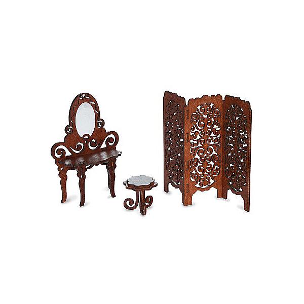 Будуар Одним прекрасным утром , коричневыйМебель для кукол<br>Характеристики:<br><br>• набор мебели для кукольного домика;<br>• предметы интерьера изготовлены из фанеры;<br>• в комплекте 3 аксессуара: ширма, туалетный столик, табурет;<br>• материал: фанера;<br>• размер упаковки: 19х11х12 см;<br>• вес: 118 г.<br><br>Приодеться, примерить новый наряд и привести себя в порядок перед зеркалом – куколка использует будуар из нового набора «Одним прекрасным утром». Складывающая ширма скрывает куклу от посторонних глаз, красиво оформленное трюмо со столиком позволяет расставить баночки и тюбики с кремами, а удобный табурет предназначен для того, чтобы куколка удобно устроилась перед овальным зеркалом. <br><br>Будуар Одним прекрасным утром , коричневый можно купить в нашем интернет-магазине.<br>Ширина мм: 120; Глубина мм: 105; Высота мм: 197; Вес г: 118; Возраст от месяцев: 36; Возраст до месяцев: 168; Пол: Женский; Возраст: Детский; SKU: 7686267;