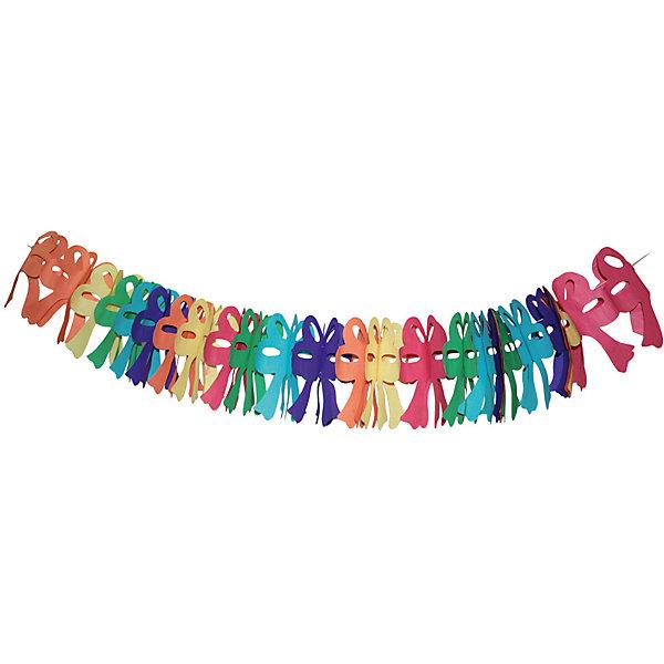 Гирлянда праздничная, крупные бантыБаннеры и гирлянды для детской вечеринки<br>Характеристики товара:<br><br>• возраст: от 3 лет;<br>• упаковка: пакет с подвесом;<br>• материал: бумага;<br>• длина: 4 м;<br>• бренд: Action<br><br>Гирлянда декоративная к празднику Крупные банты станет прекрасным украшением любого торжества, посвященного празднованию дня рождения. Гирлянда удивит каждого юного именинника.<br><br>Такое украшение отлично вписывается в домашний интерьер, принося атмосферу праздника. Благодаря разноцветным бантам настроение любого праздника станет намного красочнее и веселее.<br><br>В центре гирлянды протянута нить, с помощью которой украшение можно растягивать и вешать, а потом снова складывать в изначальное положение.<br><br>Гирлянду «Крупные банты» «Action!» можно купить в нашем интернет-магазине.<br>Ширина мм: 100; Глубина мм: 20; Высота мм: 100; Вес г: 43; Возраст от месяцев: 36; Возраст до месяцев: 2147483647; Пол: Унисекс; Возраст: Детский; SKU: 7686985;