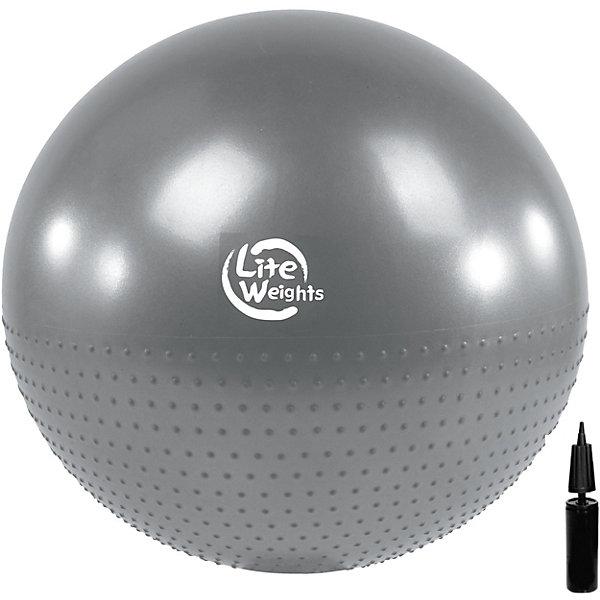 Гимнастический мяч  Lite Weights, массажный,  с насосом  , 65см, серебряныйПрыгуны и джамперы<br>Характеристики:<br><br>• тип игрушки: гимнастический мяч;<br>• возраст: от 3 лет;<br>• цвет: серебряный;<br>• диаметр: 65 см;<br>• комплектация: насос в комплекте;<br>• материал: поливинилхлорид;<br>• максимальный вес пользователя: 100 кг;<br>• размер упаковки: 25х25х8 см;<br>• вес: 1 кг;<br>• упаковка: цветная коробка с демонстрационным окошком;<br>• бренд: Lite Weight.<br>   <br>Гимнастический мяч Lite Weights, массажный, с насосом , 65см, серебряный является универсальным тренажером для всех групп мышц, помогает развить гибкость, исправить осанку, снимает чувство усталости в спине. Незаменим на занятиях фитнесом и лечебной физкультурой. <br><br>Главная функция мяча - снять нагрузку с позвоночника и разгрузить суставы. Снабжен системой «Антивзрыв» - специальная технология, предупреждающая мяч от разрыва при сильной нагрузке. Нагрузка на мяч до 100 кг. Поставляется в сдутом виде в комплекте с ручным насосом. <br><br>Гимнастический мяч Lite Weights, массажный, с насосом , 65см, серебряный можно купить в нашем интернет-магазине.<br>Ширина мм: 160; Глубина мм: 259; Высота мм: 168; Вес г: 1090; Возраст от месяцев: 36; Возраст до месяцев: 2147483647; Пол: Унисекс; Возраст: Детский; SKU: 7687392;