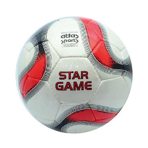 Футбольный мяч Star Game, размер 5Мячи детские<br>Характеристики:<br><br>• тип игрушки: футбольный мяч;<br>• возраст: от 3 лет;<br>• цвет: белый, черный, красный;<br>• количество панелей: 32;<br>•  количество подкладочных слоев: 4;<br>• диаметр: 68 см;<br>• тип соединения панелей: сшитый;<br>• материал: полиуретан;<br>• размер: 5;<br>• вес: 425 гр;<br>• бренд: Atlas.<br><br>Футбольный мяч Star Game, размер 5 предназначен для проведения соревнований и игр команд среднего и любительского уровней, отлично подходит и для интенсивных тренировок. Покрышка выполнена из глянцевой синтетической кожи (полиуретан), ручная сшивка, 32 панели, 4 подкладочных слоя, размер 5 (68см).<br> <br>Подходит для игры на любых поверхностях, но особенно рекомендуется для натуральных и искусственных газонов, полей с синтетическим покрытием различной степени жесткости. Подходит для игры в любых погодных условиях.<br><br>Футбольный мяч Star Game, размер 5 можно купить в нашем интернет-магазине.<br>Ширина мм: 230; Глубина мм: 230; Высота мм: 80; Вес г: 425; Возраст от месяцев: 36; Возраст до месяцев: 2147483647; Пол: Унисекс; Возраст: Детский; SKU: 7687398;