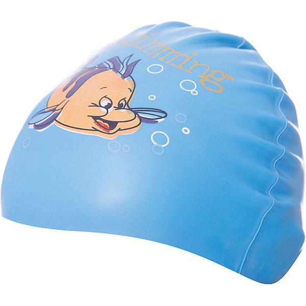 Силиконовая шапочка для плавания Dobest, с рисунком, голубая