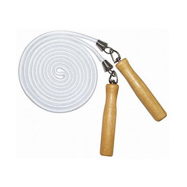 Скакалка Z-SportsСкакалки<br>Характеристики:<br><br>• тип игрушки: скакалка;<br>• возраст: от 3 лет;<br>• цвет: белый;<br>• длина: 2,5 м;<br>• длина ручек: 11,5 см;<br>• материал: дерево, сталь, полипропилен;<br>• вес: 150 гр;<br>• бренд: Z-Sports.<br><br>Скакалка Z-Sports предназначена для спорта и развлечений. Подвижные игры, прыжки, бег - все это является начальным физкультурным образованием. Скакалка дает не только необходимую нагрузку, но и доставляет удовольствие - это отличное средство против скуки, против плохого и безрадостного настроения.<br><br>Скакалка укрепляет мышцы рук и ног, а также повышает выносливость. Прыжки со скакалкой позволяют задействовать большое количество основных мышц. Упражнения со скакалками по типу нагрузки схожи с бегом.<br><br>Скакалку Z-Sports можно купить в нашем интернет-магазине.<br>Ширина мм: 180; Глубина мм: 200; Высота мм: 30; Вес г: 192; Возраст от месяцев: 36; Возраст до месяцев: 2147483647; Пол: Унисекс; Возраст: Детский; SKU: 7687428;