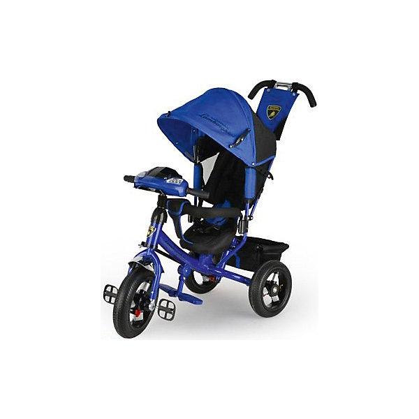 Трехколесный велосипед Lamborghini, синийВелосипеды детские<br>Характеристики товара:<br><br>• возраст: от 1 года;<br>• максимальная нагрузка: до 30 кг;<br>• материал: пластик, сталь;<br>• регулировка наклона спинки в 3 позициях;<br>• 5-ти точечные ремни безопасности;<br>• съемный бампер;<br>• солнцезащитный капюшон;<br>• фара со световыми и звуковыми эффектами;<br>• складные подножки;<br>• тип колес: надувные резиновые;<br>• диаметр переднего колеса: 12 дюймов, заднего колеса: 10 дюймов;<br>• тормоз на задних колесах;<br>• свободный ход переднего колеса;<br>• вес велосипеда: 11 кг;<br>• размер упаковки: 62х40х28 см;<br>• вес упаковки: 12,6 кг.<br><br>Трехколесный велосипед Lamborghini L2 синий — оригинальное транспортное средство для прогулок на свежем воздухе. Велосипед оснащен удобным сидением, ручкой для родителей и тентом для защиты от солнечных лучей и непогоды. Когда малыш только учится кататься, родители могут контролировать его движения при помощи ручки-толкателя. Затем велосипед можно трансформировать в обычный трехколесный велосипед.<br><br>Спинка сидения опускается в 3 положениях, позволяя подобрать оптимальное для ребенка. В сидении он фиксируется ремнем безопасности и перекладиной. Для самых маленьких имеются складные подножки, чтобы ножки не свисали. Крыша-тент регулируется по высоте в 2 позициях при помощи застежек, а также может быть полностью убрана. Большие надувные колеса отличаются хорошей проходимостью и обеспечивают ровный ход.<br><br>На ручке-толкателе есть маленькая сумочка для мелочей, а за сидением большая корзинка для вещей или игрушек. Спереди на руле расположены кнопки, активирующие световые и звуковые эффекты. Во время движения слышны звуки, похожие на мотор автомобиля. В темное время ребенок может включить фару, подсвечивая дорогу себе или родителям.<br><br>Трехколесный велосипед Lamborghini L2 синий можно приобрести в нашем интернет-магазине.<br>Ширина мм: 620; Глубина мм: 280; Высота мм: 400; Вес г: 12600; Цвет: синий; Возраст от ме