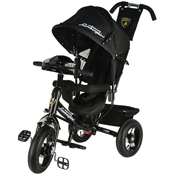 Трехколесный велосипед Lamborghini, черныйВелосипеды детские<br>Характеристики товара:<br><br>• возраст: от 1 года;<br>• максимальная нагрузка: до 30 кг;<br>• материал: пластик, сталь;<br>• регулировка наклона спинки в 3 позициях;<br>• 5-ти точечные ремни безопасности;<br>• съемный бампер;<br>• солнцезащитный капюшон;<br>• фара со световыми и звуковыми эффектами;<br>• складные подножки;<br>• тип колес: надувные резиновые;<br>• диаметр переднего колеса: 12 дюймов, заднего колеса: 10 дюймов;<br>• тормоз на задних колесах;<br>• свободный ход переднего колеса;<br>• вес велосипеда: 11 кг;<br>• размер упаковки: 62х40х28 см;<br>• вес упаковки: 12,6 кг.<br><br>Трехколесный велосипед Lamborghini L2 черный — оригинальное транспортное средство для прогулок на свежем воздухе. Велосипед оснащен удобным сидением, ручкой для родителей и тентом для защиты от солнечных лучей и непогоды. Когда малыш только учится кататься, родители могут контролировать его движения при помощи ручки-толкателя. Затем велосипед можно трансформировать в обычный трехколесный велосипед.<br><br>Спинка сидения опускается в 3 положениях, позволяя подобрать оптимальное для ребенка. В сидении он фиксируется ремнем безопасности и перекладиной. Для самых маленьких имеются складные подножки, чтобы ножки не свисали. Крыша-тент регулируется по высоте в 2 позициях при помощи застежек, а также может быть полностью убрана. Большие надувные колеса отличаются хорошей проходимостью и обеспечивают ровный ход.<br><br>На ручке-толкателе есть маленькая сумочка для мелочей, а за сидением большая корзинка для вещей или игрушек. Спереди на руле расположены кнопки, активирующие световые и звуковые эффекты. Во время движения слышны звуки, похожие на мотор автомобиля. В темное время ребенок может включить фару, подсвечивая дорогу себе или родителям.<br><br>Трехколесный велосипед Lamborghini L2 черный можно приобрести в нашем интернет-магазине.<br>Ширина мм: 620; Глубина мм: 280; Высота мм: 400; Вес г: 12600; Цвет: черный; Возраст о