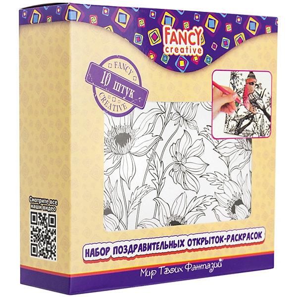 Набор открыток-раскрасок Fancy Creative ФлораРаскраски для детей<br>Характеристики:<br><br>• раскраски-антистресс;<br>• черно-белые контуры рисунков;<br>• тема набора: цветы;<br>• в комплекте 10 листов;<br>• материал: бумага, картон;<br>• тип упаковки: картонная коробка;<br>• размер упаковки: 14х14 см.<br><br>Создать поздравительные открытки своими руками можно с помощью набора Fancy Creative «Флора». Маки, георгины, розы, лилии и пионы – разнообразие цвета и цветов порадует глаз и поздравителя, и виновника торжества. Раскраски-антистресс развивают усидчивость, мелкую моторику, внимание. <br><br>Набор открыток-раскрасок Fancy Creative «Флора» можно купить в нашем интернет-магазине.<br>Ширина мм: 140; Глубина мм: 30; Высота мм: 140; Вес г: 187; Цвет: белый; Возраст от месяцев: 36; Возраст до месяцев: 2147483647; Пол: Унисекс; Возраст: Детский; SKU: 7701552;