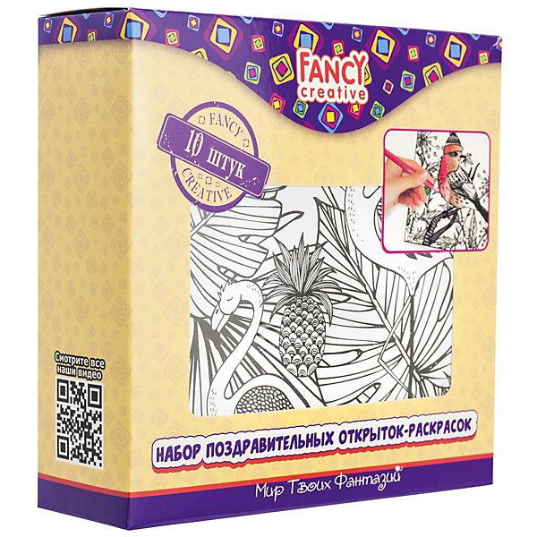 Набор открыток-раскрасок Fancy Creative ПолётРаскраски для детей<br>Характеристики:<br><br>• раскраски-антистресс;<br>• черно-белые контуры рисунков;<br>• тема набора: птицы, цветы, бабочки;<br>• в комплекте 10 листов;<br>• материал: бумага, картон;<br>• тип упаковки: картонная коробка;<br>• размер упаковки: 14х14 см.<br><br>Тонкие линии, мелкие рисунки, тщательно прорисованные элементы – в раскрасках-антистресс прослеживается кропотливая работа художников. Сделать открытки ручной работы может как ребенок, так и взрослый. Рисовать можно цветными карандашами и тонкими фломастерами, гелевыми ручками и синей пастой разных оттенков. <br><br>Набор открыток-раскрасок Fancy Creative «Полёт» можно купить в нашем интернет-магазине.<br>Ширина мм: 140; Глубина мм: 30; Высота мм: 140; Вес г: 187; Цвет: белый; Возраст от месяцев: 36; Возраст до месяцев: 2147483647; Пол: Унисекс; Возраст: Детский; SKU: 7701564;