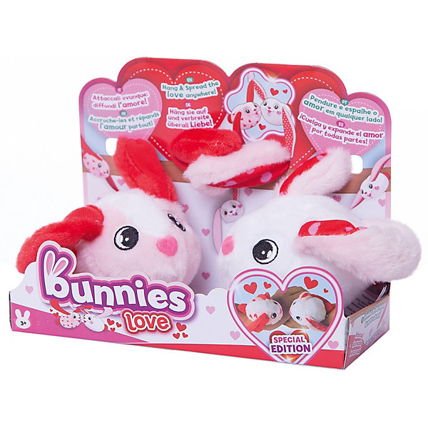 Кролики Bunnies IMC Toys  Подарочная серия , 2шт. в упаковкеМягкие игрушки животные<br>Характеристики:<br><br>• подарочная серия кроликов Bunnies;<br>• пушистые брелки-магниты;<br>• для соединения используются 4 магнита;<br>• точки соединения: нос, хвост, ушки;<br>• в комплекте 2 кролика;<br>• цвет: бело-красные;<br>• материал: плюш, искусственный мех, магнит, пластик;<br>• размер каждого кролика (без ушей) 9,5 см;<br>• размер упаковки: 15х10х15 см;<br>• вес: 108 г.<br><br>Мягкая игрушка кролики Bunnies представлены в виде брелков, которые крепятся с помощью магнитов на сумку или рюкзак, используются как браслетики или украшения для волос. Пушистые кролики с длинными ушами оснащены встроенными магнитами, которые позволяют крепить питомцев на вещи или соединять их друг с другом. Сюжетно-ролевые игры с кроликами развивают фантазию и образное мышление. <br><br>Кролики Bunnies IMC Toys  Подарочная серия , 2шт. в упаковке можно купить в нашем интернет-магазине.<br>Ширина мм: 150; Глубина мм: 100; Высота мм: 150; Вес г: 108; Цвет: красный/белый; Возраст от месяцев: 36; Возраст до месяцев: 180; Пол: Женский; Возраст: Детский; SKU: 7702686;