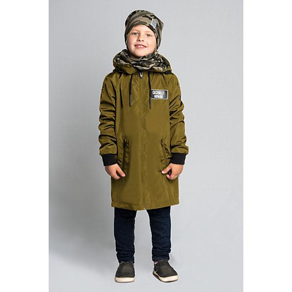 Плащ BOOM by Orby для мальчикаВерхняя одежда<br>Характеристики товара:<br><br>• цвет: хаки/принт;<br>• ткань верха: твил pu (100% ПЭ);<br>• подкладка: поликоттон, ПЭ пуходержащий (90% хлопок, 10% ПЭ);<br>• оттелка: футер петельный принт (95% хлопок, 10% ПЭ);<br>• сезон: демисезон;<br>• температурный режим: от +10°С;<br>• эластичные манжеты;<br>• два кармана;<br>• нагрудная нашивка, принт сзади на спине; <br>• особенности: на молнии, принт;<br>• тип куртки: плащ;<br>• капюшон: несъемный, с утяжкой;<br>• страна бренда: Россия.<br><br>Плащ BOOM by Orby для мальчика из колекции Весна-Осень 2018 - актуальный тренд сезона! обладает необычным стильным дизайном. Удлиненный плащ для мальчика с отделкой из футера – комфортное решение в одежде, которая не промокнет под дождем и останется непродуваемой даже при сильном ветре. <br><br>Изделие не имеет утеплителя, но отлично удерживает тепло благодаря флису и плотному внешнему материалу.<br><br>Плащ BOOM by Orby (Бум бай Орби) для мальчика можно купить в нашем интернет-магазине.<br>Ширина мм: 356; Глубина мм: 10; Высота мм: 245; Вес г: 519; Цвет: хаки; Возраст от месяцев: 84; Возраст до месяцев: 96; Пол: Мужской; Возраст: Детский; Размер: 128,122,158,152,146,140,134; SKU: 7708714;