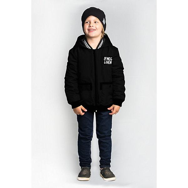 Куртка BOOM by Orby для мальчикаВерхняя одежда<br>Характеристики товара:<br><br>• цвет: черный;<br>• ткань верха: Твил pu (100% ПЭ);<br>• отделка: Вязаное полотно;<br>• подкладка: Поликоттон; ПЭ пуходержащий (90% хлопок, 10% ПЭ);<br>• утеплитель: Flexy Fiber 100 г/м2;<br>• сезон: демисезон;<br>• температурный режим: от -5 до +10°С;<br>• эластичные манжеты;<br>• два кармана;<br>• дополнительная утяжка по низу изделия; <br>• особенности: на молнии, принт, нашивка на груди;<br>• тип куртки: бомбер;<br>• капюшон: несъемный;<br>• страна бренда: Россия.<br><br>Куртка-бомбер BOOM by Orby для мальчика выполнена из практичной и износостойкой ткани твил, с оригинальными дизайнерскими элементами, в актуалных цвета сезона. Гипоаллергенный утеплитель защитит в прохладную погоду. Модель обязательно станет любимицей детей и родителей, ведь в неё сочетаются стиль, доступность и практичность. Идеально сочетается с вещами в стиле casual: джинсы или брюки чинос, полуботинки и шапки-бини. <br><br>Куртку-бомбер BOOM by Orby (Бум бай Орби) для мальчика можно купить в нашем интернет-магазине.<br>Ширина мм: 356; Глубина мм: 10; Высота мм: 245; Вес г: 519; Цвет: черный; Возраст от месяцев: 48; Возраст до месяцев: 60; Пол: Мужской; Возраст: Детский; Размер: 110,170,164,158,152,146,140,134,128,122,116; SKU: 7708778;