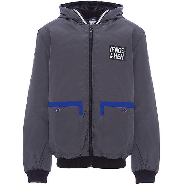 Куртка BOOM by Orby для мальчикаВерхняя одежда<br>Характеристики товара:<br><br>• цвет: графит;<br>• ткань верха: Твил pu (100% ПЭ);<br>• отделка: Вязаное полотно;<br>• подкладка: Поликоттон; ПЭ пуходержащий (90% хлопок, 10% ПЭ);<br>• утеплитель: Flexy Fiber 100 г/м2;<br>• сезон: демисезон;<br>• температурный режим: от -5 до +10°С;<br>• эластичные манжеты;<br>• два кармана;<br>• дополнительная утяжка по низу изделия; <br>• особенности: на молнии, принт, нашивка на груди;<br>• тип куртки: бомбер;<br>• капюшон: несъемный;<br>• страна бренда: Россия.<br><br>Куртка-бомбер BOOM by Orby для мальчика выполнена из практичной и износостойкой ткани твил, с оригинальными дизайнерскими элементами, в актуалных цвета сезона. Гипоаллергенный утеплитель защитит в прохладную погоду. Модель обязательно станет любимицей детей и родителей, ведь в неё сочетаются стиль, доступность и практичность. Идеально сочетается с вещами в стиле casual: джинсы или брюки чинос, полуботинки и шапки-бини. <br><br>Куртку-бомбер BOOM by Orby (Бум бай Орби) для мальчика можно купить в нашем интернет-магазине.<br>Ширина мм: 356; Глубина мм: 10; Высота мм: 245; Вес г: 519; Цвет: серый; Возраст от месяцев: 168; Возраст до месяцев: 180; Пол: Мужской; Возраст: Детский; Размер: 170,110,164,158,152,146,140,134,128,122,116; SKU: 7708790;