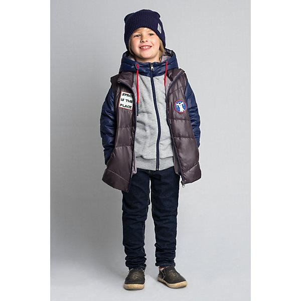 Куртка BOOM by Orby для мальчикаВерхняя одежда<br>Характеристики товара:<br><br>• цвет: графит//серый меланж/т.синий;<br>• ткань верха: футер с начесом петельный (60% ПЭ, 40% хлопок); болонь pu milky (100% ПЭ);<br>• подкладка: ПЭ пуходержащий (100% ПЭ);<br>•  утеплитель: Flexy Fiber 100 г/м2;<br>• сезон: демисезон;<br>• температурный режим: от -5 до +10°С;<br>• эластичные манжеты;<br>• два кармана;<br>• дополнительная утяжка по низу изделия; <br>• особенности: на молнии, принт, нашивка на груди;<br>• тип куртки: 3 в 1;<br>• капюшон: несъемный;<br>• страна бренда: Россия.<br><br>Куртка 3 в 1 BOOM by Orby для мальчика из новой коллекции выполненна в актуальном и практичном цвете. В одной модели сразу три вещи: теплая куртка, стильная жилетка и толстовка из футера петельного с рукавами из ткани верха. Тепло, стильно и практично!  Гипоаллергенный утеплитель защитит в прохладную погоду. Модель обязательно станет любимицей детей и родителей, ведь в неё сочетаются стиль, доступность и практичность. С таким комплектом можно придумать бесчисленное количество образов как для прогулки так и для школы, сада.<br><br>Куртку 3 в 1 BOOM by Orby (Бум бай Орби) для мальчика можно купить в нашем интернет-магазине.<br>Ширина мм: 356; Глубина мм: 10; Высота мм: 245; Вес г: 519; Цвет: серый; Возраст от месяцев: 132; Возраст до месяцев: 144; Пол: Мужской; Возраст: Детский; Размер: 104,98,140,134,128,122,116,158,152,146,110; SKU: 7708814;