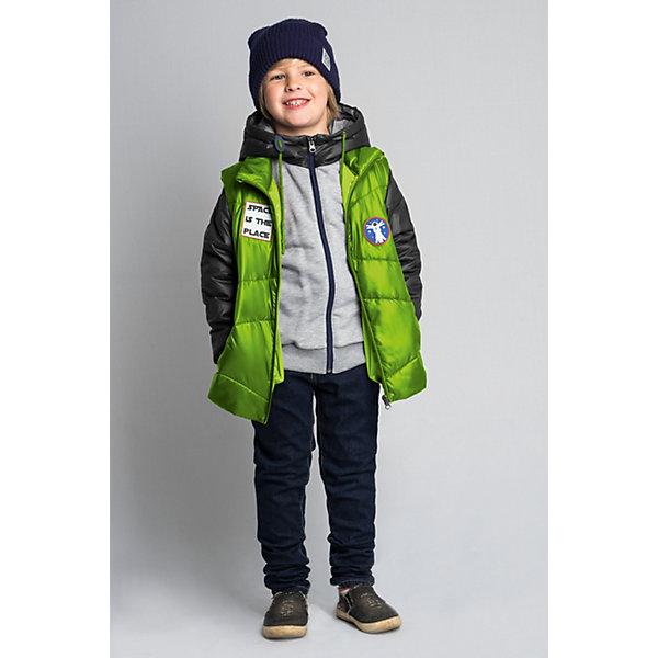 Куртка BOOM by Orby для мальчикаВерхняя одежда<br>Характеристики товара:<br><br>• цвет: салатовый//серый меланж/графит;<br>• ткань верха: футер с начесом петельный (60% ПЭ, 40% хлопок); болонь pu milky (100% ПЭ);<br>• подкладка: ПЭ пуходержащий (100% ПЭ);<br>•  утеплитель: Flexy Fiber 100 г/м2;<br>• сезон: демисезон;<br>• температурный режим: от -5 до +10°С;<br>• эластичные манжеты;<br>• два кармана;<br>• дополнительная утяжка по низу изделия; <br>• особенности: на молнии, принт, нашивка на груди;<br>• тип куртки: 3 в 1;<br>• капюшон: несъемный;<br>• страна бренда: Россия.<br><br>Куртка 3 в 1 BOOM by Orby для мальчика из новой коллекции выполненна в актуальном и практичном цвете. В одной модели сразу три вещи: теплая куртка, стильная жилетка и толстовка из футера петельного с рукавами из ткани верха. Тепло, стильно и практично!  Гипоаллергенный утеплитель защитит в прохладную погоду. Модель обязательно станет любимицей детей и родителей, ведь в неё сочетаются стиль, доступность и практичность. С таким комплектом можно придумать бесчисленное количество образов как для прогулки так и для школы, сада.<br><br>Куртку 3 в 1 BOOM by Orby (Бум бай Орби) для мальчика можно купить в нашем интернет-магазине.<br>Ширина мм: 356; Глубина мм: 10; Высота мм: 245; Вес г: 519; Цвет: светло-зеленый; Возраст от месяцев: 24; Возраст до месяцев: 36; Пол: Мужской; Возраст: Детский; Размер: 98,158,152,146,140,134,128,122,116,110,104; SKU: 7708826;