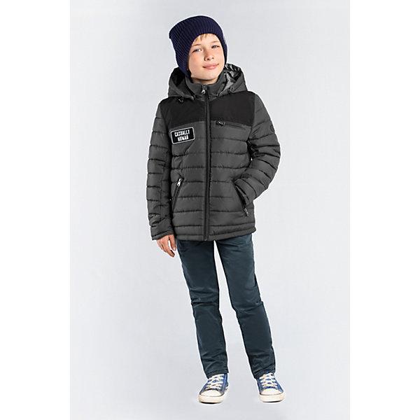 Куртка BOOM by Orby для мальчикаВерхняя одежда<br>Характеристики товара:<br><br>• цвет: графит/черный;<br>• ткань верха: таффета матовая и стеганая (100% ПЭ);<br>• отделка: таслан pu milky (100% ПЭ);<br>• подкладка: Поликоттон; ПЭ пуходержащий (90% хлопок, 10% ПЭ);<br>• утеплитель: Flexy Fiber 100 г/м2;<br>• сезон: демисезон;<br>• температурный режим: от -5 до +10°С;<br>• эластичные манжеты;<br>• два кармана;<br>• особенности: на молнии, принт, вставки на плечах и локтях;<br>• тип куртки: стеганая;<br>• капюшон: несъемный;<br>• страна бренда: Россия.<br><br>Классическая стеганная куртка BOOM by Orby для мальчика выполнена из практичной и износостойкой ткани с оригинальными дизайнерскими элементами, в актуалных цветах сезона. Гипоаллергенный утеплитель защитит в прохладную погоду. Модель обязательно станет любимицей детей и родителей, ведь в неё сочетаются стиль, доступность и практичность. Идеальный вариант для школы, сочетаеммый с большим количеством одежды и стилей.<br><br>Стеганную куртку BOOM by Orby (Бум бай Орби) для мальчика можно купить в нашем интернет-магазине.<br>Ширина мм: 356; Глубина мм: 10; Высота мм: 245; Вес г: 519; Цвет: серый; Возраст от месяцев: 96; Возраст до месяцев: 108; Пол: Мужской; Возраст: Детский; Размер: 134,128,122,116,110,104,98,170,164,158,152,146,140; SKU: 7708838;