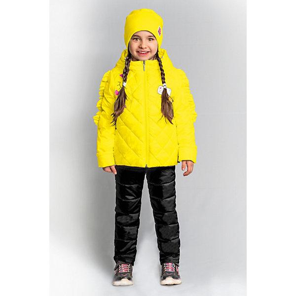 Комплект BOOM by Orby для девочкиВерхняя одежда<br>Характеристики товара:<br><br>• цвет: яжелтый/ черный;<br>• ткань верха (куртка): таффета oil cire pu; таффета pu milky (100% ПЭ);<br>• ткань верха (брюки):  таффета pu milky (100% ПЭ);<br>• подкладка (куртка): поликоттон; ПЭ пуходержащий (90% хлопок, 10% ПЭ);<br>• подкладка (брюки): поликоттон; ПЭ пуходержащий (90% хлопок, 10% ПЭ);<br>• утеплитель (куртка): Flexy Fiber 150 г/м2;<br>• утеплитель (брюки): Flexy Fiber 80 г/м2;<br>• сезон: демисезон;<br>• температурный режим: от -5 до +10°С;<br>• рюши на руковах;<br>• эластичные манжеты;<br>• два кармана;<br>• наличие манжетов-отворотов (куртка и брюки);<br>• тип куртки: стеганая;<br>• капюшон: съемный;<br>• страна бренда: Россия.<br><br>Комплект: куртка и брюки BOOM by Orby для девочки выполнен качественной и износостойкой ткани. Гипоаллергенный утеплитель куртки защитит в прохладную погоду. Нежный и теплый комплект для девочки в романтическом стиле. Особую изюминку модели придают рюши на рукавах, похожие на гриву единорога, и  конфетные  оттенки цвета. Благодаря наличию манжетов-отворотов на курточке и брючках, комплект прослужит не один сезон.   Комплект подойдет и для прогулок и для школы/сада. <br><br>Комплект: куртку и брюки BOOM by Orby для девочки можно купить в нашем интернет-магазине.<br>Ширина мм: 356; Глубина мм: 10; Высота мм: 245; Вес г: 519; Цвет: желтый; Возраст от месяцев: 12; Возраст до месяцев: 18; Пол: Женский; Возраст: Детский; Размер: 86,110,104,98,92; SKU: 7709052;