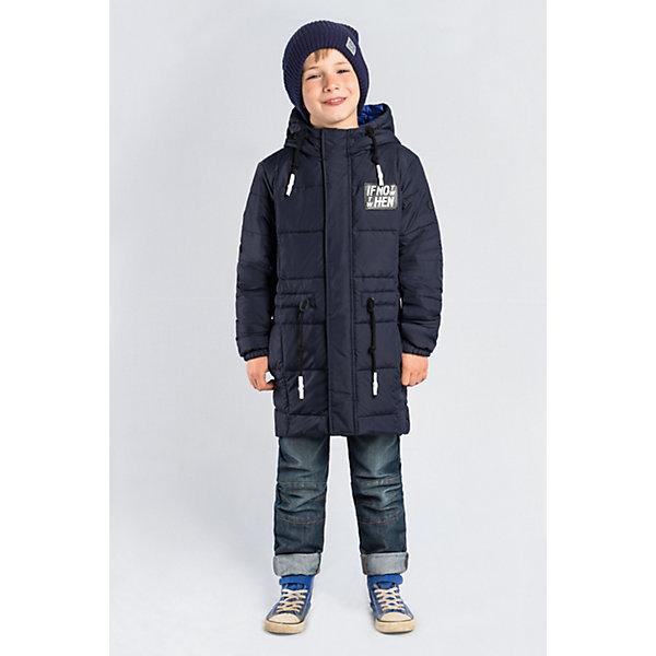 Пальто BOOM by Orby для мальчикаВерхняя одежда<br>Характеристики товара:<br><br>• цвет: темно-синий;<br>• ткань верха: таффета матовая (100% ПЭ);<br>• подкладка: поликоттон; ПЭ пуходержащий (90% хлопок, 10% ПЭ);<br>• утеплитель: Flexy Fiber 150 г/м2;<br>• сезон: демисезон;<br>• температурный режим: от -5 до +10°С;<br>• регулируемая талия на шнурке;<br>• два кармана;<br>• высокая горловина; <br>• особенности:нашивка на груди;<br>• тип куртки: пальто;<br>• капюшон: с утяжкой на шнурке, несъемный;<br>• страна бренда: Россия.<br><br>Удлиненное пальто BOOM by Orby для мальчика выполнена из практичной и износостойкой ткани, с оригинальными дизайнерскими элементами, в актуалных цвета сезона. Гипоаллергенный утеплитель защитит в прохладную погоду. Модель обязательно станет любимицей детей и родителей, ведь в неё сочетаются стиль, доступность и практичность. Идеально сочетается с вещами в стиле casual и спорт: джинсы или брюки чинос, полуботинки и шапки-бини. Подойдет как для прогулок, так и для школы.<br><br>Пальто BOOM by Orby (Бум бай Орби) для мальчика можно купить в нашем интернет-магазине.<br>Ширина мм: 356; Глубина мм: 10; Высота мм: 245; Вес г: 519; Цвет: темно-синий; Возраст от месяцев: 24; Возраст до месяцев: 36; Пол: Мужской; Возраст: Детский; Размер: 98,170,164,158,152,146,140,134,128,122,116,110,104; SKU: 7709479;