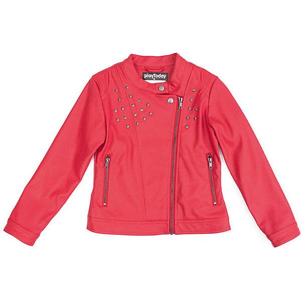 Куртка PlayToday для девочкиВерхняя одежда<br>Характеристики товара:<br><br>• цвет: красный;<br>• состав ткани: 60% полиуретан, 40% вискоза;<br>• подкладка: 100% полиэстер;<br>• без дополнительного утепления;<br>• сезон: демисезон;<br>• температурный режим: от +10С;<br>• застёжка: молния и кнопка на вороте;<br>• ассиметричная молния;<br>• куртка без капюшона;<br>• молния на рукавах;<br>• кожаная куртка;<br>• два кармана на молнии;<br>• светоотражающие детали;<br>• декорирована клёпками;<br>• коллекция: Рок-звезда;<br>• страна бренда: Германия.<br><br>Куртка выполнена из искусственной кожи, на подкладке из полиэстера. Модель с асимметричной застежкой - молнией и воротником - стойкой. В качестве декора использованы металлические заклепки. Куртка дополнена встрочными карманами на молнии.<br><br>Куртку PlayToday (ПлэйТудэй) можно купить в нашем интернет-магазине.<br>Ширина мм: 356; Глубина мм: 10; Высота мм: 245; Вес г: 519; Цвет: красный; Возраст от месяцев: 36; Возраст до месяцев: 48; Пол: Женский; Возраст: Детский; Размер: 104,146/152,134/140,122,110,116,128; SKU: 7714135;
