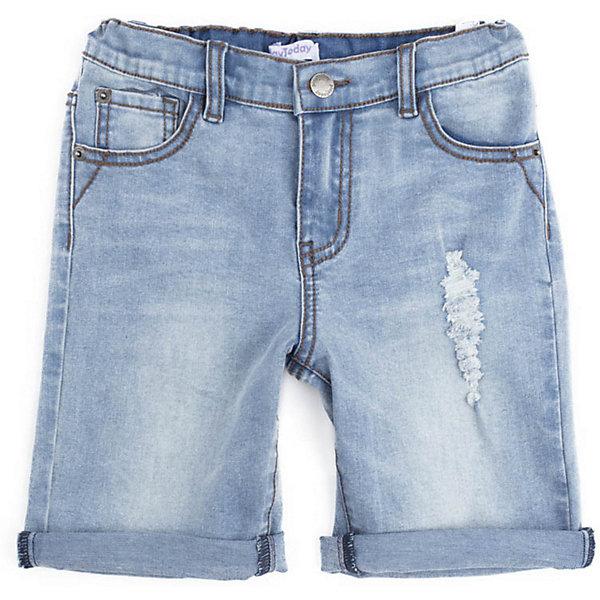Шорты джинсовые PlayToday для мальчикаШорты, бриджи, капри<br>Шорты PlayToday для мальчика<br>Шорты из джинсовой ткани классического кроя. Пояс со шлевками, при необходимости можно использовать ремень. Изнутри пояс по ширине регулируется за счет резинок на пуговицах.  Модель декорирована потертостями.<br>Состав:<br>99% хлопок, 1% эластан<br>Ширина мм: 191; Глубина мм: 10; Высота мм: 175; Вес г: 273; Цвет: голубой; Возраст от месяцев: 108; Возраст до месяцев: 120; Пол: Мужской; Возраст: Детский; Размер: 134/140,122,110,116,128,104,146/152; SKU: 7715169;