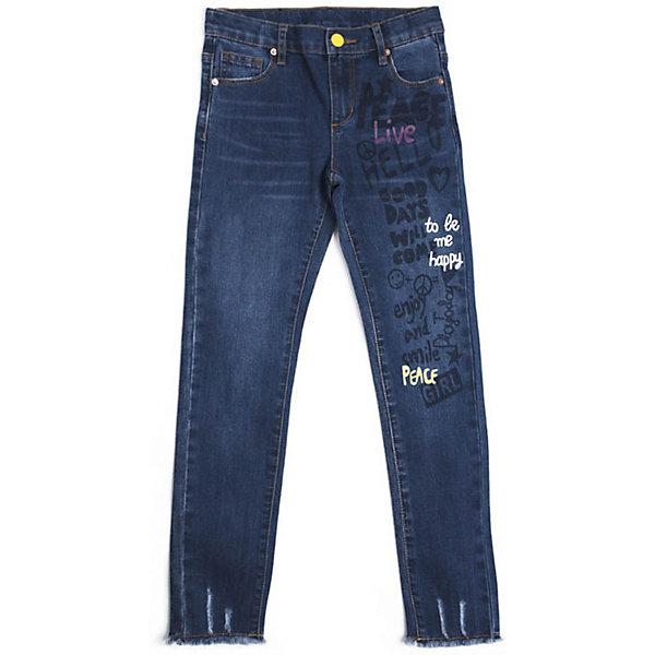 Джинсы PlayToday для девочкиДжинсы<br>Характеристики товара:<br><br>• цвет: синий;<br>• состав ткани: 70% хлопок, 20% полиэстер, 8% вискоза, 2% эластан;<br>• сезон: демисезон;<br>• застёжка: ширинка на молнии и пуговица;<br>• внутренняя регулировка талии:<br>• наличие шлёвок для ремня;<br>• классическая 5-ти карманная модель;<br>• декорированы принтом;<br>• низ штанин с необработанным краем;<br>• страна бренда: Германия.<br><br>Джинсы выполнены из натурального хлопка. Классическая 5-ти карманная модель. Пояс со шлевками, при необходимости можно использовать ремень, изнутри регулируется за счет резинки на пуговицах. В качестве декора использован принт. Низ штанин оформлен в технике необработанного края.<br><br>Джинсы PlayToday (ПлэйТудэй) можно купить в нашем интернет-магазине.<br>Ширина мм: 215; Глубина мм: 88; Высота мм: 191; Вес г: 336; Цвет: синий; Возраст от месяцев: 36; Возраст до месяцев: 48; Пол: Женский; Возраст: Детский; Размер: 104,146/152,134/140,122,116,110,128; SKU: 7716886;