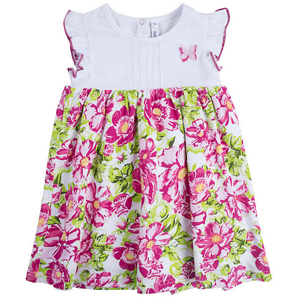 Платье PlayToday для девочкиПлатья<br>Платье PlayToday для девочки<br>Платье с завышенной талией из натурального хлопка. Рукава оформлены оборками. Модель с двуслойной юбкой. На спинке расположены застежки - кнопки.<br>Состав:<br>95% хлопок, 5% эластан<br>Ширина мм: 236; Глубина мм: 16; Высота мм: 184; Вес г: 177; Цвет: белый; Возраст от месяцев: 18; Возраст до месяцев: 24; Пол: Женский; Возраст: Детский; Размер: 92,86,80,98; SKU: 7717296;