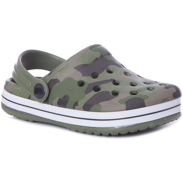 Сабо Mursu для мальчикаПляжная обувь<br>Характеристики товара:<br><br>• цвет: зеленый/принт;<br>• внешний материал: ЭВА;<br>• внутренний материал: ЭВА;<br>• стелька: ЭВА;<br>• подошва: ЭВА;<br>• сезон: лето;<br>• облегчённая модель;<br>• подходит для пляжа;<br>• подходит для занятий в бассейне;<br>• отверстия для вентиляции;<br>• закрытый нос;<br>• устойчивая подошва;<br>• страна бренда: Финляндия.<br><br>Удобные кроксы Mursu незаменимы для пляжного сезона. Легкая модель полностью выполнена из качественного полимерного материала. У кроксов имеется подвижный ремешок с пластиковыми кнопками. Большое количество дырочек в верхней части обуви обеспечивает вентиляцию ноги. Модель выполнена в зеленом цвете с модным принтом камуфляж.<br><br>Пляжная обувь финского бренда Mursu - это отличный вариант правильной и красивой детской обуви!<br><br>Пляжную обувь Mursu для мальчика можно купить в нашем интернет-магазине.<br>Ширина мм: 225; Глубина мм: 139; Высота мм: 112; Вес г: 290; Цвет: хаки; Возраст от месяцев: 21; Возраст до месяцев: 24; Пол: Мужской; Возраст: Детский; Размер: 24,29,28,27,26,25; SKU: 7722677;