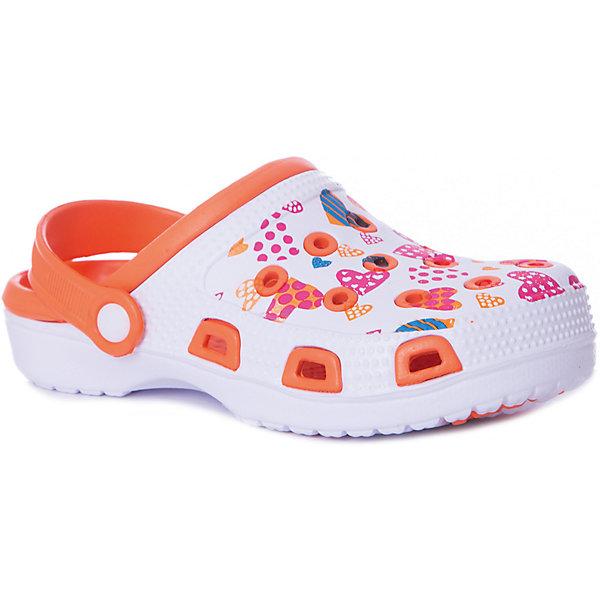 Сабо Mursu для девочкиПляжная обувь<br>Характеристики товара:<br><br>• цвет: белый/оранжевый;<br>• внешний материал: ЭВА;<br>• внутренний материал: ЭВА;<br>• стелька: ЭВА;<br>• подошва: ЭВА;<br>• сезон: лето;<br>• облегчённая модель;<br>• подходит для пляжа;<br>• подходит для занятий в бассейне;<br>• отверстия для вентиляции;<br>• закрытый нос;<br>• устойчивая подошва;<br>• страна бренда: Финляндия.<br><br>Удобные кроксы Mursu незаменимы для пляжного сезона. Легкая модель полностью выполнена из качественного полимерного материала. У кроксов имеется подвижный ремешок с пластиковыми кнопками. Большое количество дырочек в верхней части обуви обеспечивает вентиляцию ноги. Мысочная часть оформлена красивым принтом в виде бабаочек, который неприменно оценит ваш ребенок. <br><br>Пляжная обувь финского бренда Mursu - это отличный вариант правильной и красивой детской обуви!<br><br>Пляжную обувь Mursu для девочки можно купить в нашем интернет-магазине.<br>Ширина мм: 225; Глубина мм: 139; Высота мм: 112; Вес г: 290; Цвет: оранжевый/белый; Возраст от месяцев: 72; Возраст до месяцев: 84; Пол: Женский; Возраст: Детский; Размер: 30,35,34,33,32,31; SKU: 7722698;