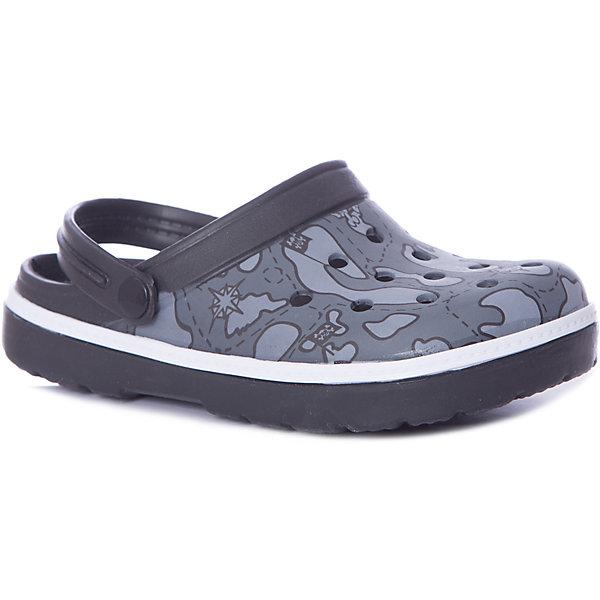 Сабо Mursu для мальчикаПляжная обувь<br>Характеристики товара:<br><br>• цвет: серый/принт;<br>• внешний материал: ЭВА;<br>• внутренний материал: ЭВА;<br>• стелька: ЭВА;<br>• подошва: ЭВА;<br>• сезон: лето;<br>• облегчённая модель;<br>• подходит для пляжа;<br>• подходит для занятий в бассейне;<br>• отверстия для вентиляции;<br>• закрытый нос;<br>• устойчивая подошва;<br>• страна бренда: Финляндия.<br><br>Удобные кроксы Mursu незаменимы для пляжного сезона. Легкая модель полностью выполнена из качественного полимерного материала. У кроксов имеется подвижный ремешок с пластиковыми кнопками. Большое количество дырочек в верхней части обуви обеспечивает вентиляцию ноги. Модель выполнена в сером цвете с модным принтом камуфляж.<br><br>Пляжная обувь финского бренда Mursu - это отличный вариант правильной и красивой детской обуви!<br><br>Пляжную обувь Mursu для мальчика можно купить в нашем интернет-магазине.<br>Ширина мм: 225; Глубина мм: 139; Высота мм: 112; Вес г: 290; Цвет: серый; Возраст от месяцев: 72; Возраст до месяцев: 84; Пол: Мужской; Возраст: Детский; Размер: 30,35,34,33,32,31; SKU: 7722789;