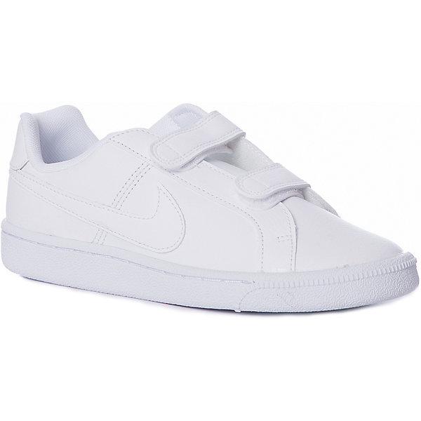 Кроссовки NIKEКроссовки<br>Характеристики товара:<br><br>• цвет: белый<br>• модель: Nike Court Royale (GS)<br>• спортивный стиль<br>• внешний материал обуви: натуральная кожа 61%, синтетическая кожа 39%;<br>• внутренний материал: текстиль 100%;<br>• стелька: EVA<br>• подошва: резина<br>• декорированы логотипом<br>• вставка в подошве для мягкой амортизации<br>• тип застежки: липучка<br>• сезон: демисезон<br>• температурный режим: от +10°С до +20°С<br>• устойчивая подошва<br>• износостойкий материал<br>• страна бренда: США<br><br>Кеды Nike Court Royale (GS) белые - новое исполнение теннисной классики в современном стиле. Выполнены из сочетания натуральной кожи и качественного кожзама, обеспечивая максимальный комфорт ребенку.  Стелька из пеноматериала EVA обеспечивает амортизацию без утяжеления. Резиновая подошва типа cupsole обеспечивает гибкость и поддержку. <br><br>Обувь качественно проработана, она долго служит, удобно сидит, отлично защищает детскую ногу от повреждений. Надевается элементарно, благодаря эластичной шнуровке и удобному язычку. Стильно выглядит и хорошо смотрится с одеждой разных цветов и стилей.<br><br>Кеды NIKE (Найк) можно купить в нашем интернет-магазине.<br>Ширина мм: 250; Глубина мм: 150; Высота мм: 150; Вес г: 250; Цвет: разноцветный; Возраст от месяцев: 36; Возраст до месяцев: 48; Пол: Унисекс; Возраст: Детский; Размер: 29,28.5,27.5,27,26.5,34,33,32.5,32,31.5,30.5,30; SKU: 7741827;