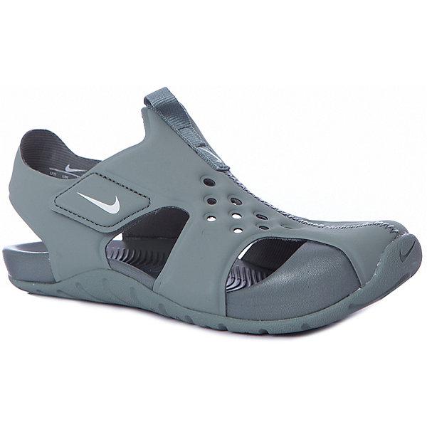 Сандалии NIKEПляжная обувь<br>Характеристики товара:<br><br>• цвет: зеленый;<br>• модель: Sunray Protect 2 (PS);<br>• внешний материал: синтетическая кожа;<br>• внутренний материал: текстиль;<br>• подошва: резина;<br>• тип подошвы: протекторная;<br>• стиль: спортивный;<br>• сезон: лето;<br>• защищенный мыс;<br>• форма мыска: закругленный;<br>• с закрытым мысом;<br>• анатомические;<br>• на липучках;<br>• страна бренда: США.<br><br>Универсальные и легкие сандалии Nike Sunray Protect (PS) разработаны специально для детей, имеют практичный дизайн и комфортную посадку. Они созданы для теплой погоды и готовы к активному образу жизни Вашего ребенка. Выполнены из мягкого искусственного материала в локоничном зеленом цвете, подойдут под большое количество детской одежды. <br><br>Проработанная модель снабжена усиленным мысом и хорошей вентиляцией стопы. Эластичный верх и прочная подметка обеспечивают комфорт и гибкость без утяжеления. Литая подметка из резины - для надежного сцепления. Застежка-липучка позволяет быстро снимать и надевать обувь. <br><br>Сандалии закрытые Nike Sunray Protect 2 (PS) можно купить в нашем интернет-магазине.<br>Ширина мм: 219; Глубина мм: 154; Высота мм: 121; Вес г: 343; Цвет: разноцветный; Возраст от месяцев: 120; Возраст до месяцев: 132; Пол: Унисекс; Возраст: Детский; Размер: 34,27,28.5,30,31.5,32.5; SKU: 7741847;