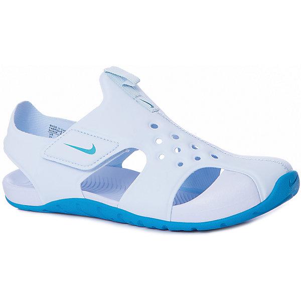 Сандалии NIKEПляжная обувь<br>Характеристики товара:<br><br>• цвет: белый;<br>• модель: Sunray Protect 2 (PS);<br>• внешний материал: синтетическая кожа;<br>• внутренний материал: текстиль;<br>• подошва: резина;<br>• тип подошвы: протекторная;<br>• стиль: спортивный;<br>• сезон: лето;<br>• защищенный мыс;<br>• форма мыска: закругленный;<br>• с закрытым мысом;<br>• анатомические;<br>• на липучках;<br>• страна бренда: США.<br><br>Универсальные и легкие сандалии Nike Sunray Protect (PS) разработаны специально для детей, имеют практичный дизайн и комфортную посадку. Они созданы для теплой погоды и готовы к активному образу жизни Вашего ребенка. Выполнены из мягкого искусственного материала в белом цвете с контрастной подошвой, подойдут под большое количество детской одежды. <br><br>Проработанная модель снабжена усиленным мысом и хорошей вентиляцией стопы. Эластичный верх и прочная подметка обеспечивают комфорт и гибкость без утяжеления. Литая подметка из резины - для надежного сцепления. Застежка-липучка позволяет быстро снимать и надевать обувь. <br><br>Сандалии закрытые Nike Sunray Protect 2 (PS) можно купить в нашем интернет-магазине.<br>Ширина мм: 219; Глубина мм: 154; Высота мм: 121; Вес г: 343; Цвет: разноцветный; Возраст от месяцев: 36; Возраст до месяцев: 48; Пол: Унисекс; Возраст: Детский; Размер: 27,34,32.5,31.5,30,28.5; SKU: 7741861;