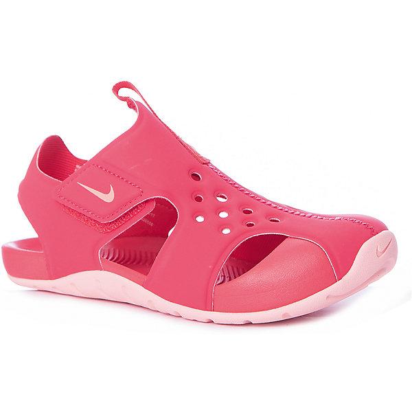 Сандалии NIKEПляжная обувь<br>Характеристики товара:<br><br>• цвет: розовый;<br>• модель: Sunray Protect 2 (PS);<br>• внешний материал: синтетическая кожа;<br>• внутренний материал: текстиль;<br>• подошва: резина;<br>• тип подошвы: протекторная;<br>• стиль: спортивный;<br>• сезон: лето;<br>• защищенный мыс;<br>• форма мыска: закругленный;<br>• с закрытым мысом;<br>• анатомические;<br>• на липучках;<br>• страна бренда: США.<br><br>Универсальные и легкие сандалии Nike Sunray Protect (PS) разработаны специально для детей, имеют практичный дизайн и комфортную посадку. Они созданы для теплой погоды и готовы к активному образу жизни Вашего ребенка. Выполнены из мягкого искусственного материала в красивом розовом цвете с контрастной подошвой, подойдут под большое количество детской одежды. <br><br>Проработанная модель снабжена усиленным мысом и хорошей вентиляцией стопы. Эластичный верх и прочная подметка обеспечивают комфорт и гибкость без утяжеления. Литая подметка из резины - для надежного сцепления. Застежка-липучка позволяет быстро снимать и надевать обувь. <br><br>Сандалии закрытые Nike Sunray Protect 2 (PS) можно купить в нашем интернет-магазине.<br>Ширина мм: 219; Глубина мм: 154; Высота мм: 121; Вес г: 343; Цвет: розовый; Возраст от месяцев: 72; Возраст до месяцев: 84; Пол: Унисекс; Возраст: Детский; Размер: 31,33.5,29.5,28,35,32; SKU: 7741868;
