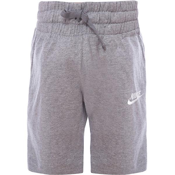 Шорты NIKEШорты, бриджи, капри<br>Характеристики товара:<br><br>• цвет: серый;<br>• модель: Nike Futura Icon;<br>• сезон: круглый год;<br>• материал: хлопок 100%;<br>• спортивный стиль, на физкультуру;<br>• вид застежки: завязки;<br>• посадка: средняя;<br>• рисунок: логотип;<br>• уход за вещами: бережная стирка при 30 градусах;<br>• страна бренда: США.<br><br>Шорты для мальчиков Nike Sportswear отличаются легкостью и дарят комфорт в непринужденном спортивном стиле. Эластичный пояс со шнурками для надежной регулируемой посадке. Задние и боковые карманы для хранения мелочей. Выполнены из мягкого 100% хлопка, в практичном сером цвете. Отличный вариант для занятий спортом, активных прогулок и повседневной носки.<br><br>Продукция бренда NIKE известна высоким качеством и уникальным узнаваемым дизайном. <br><br>Шорты для мальчиков Nike Sportswear можно купить в нашем интернет-магазине.<br>Ширина мм: 191; Глубина мм: 10; Высота мм: 175; Вес г: 273; Цвет: разноцветный; Возраст от месяцев: 84; Возраст до месяцев: 96; Пол: Унисекс; Возраст: Детский; Размер: 122/128,158/170,147/158,137/147,128/137; SKU: 7741911;