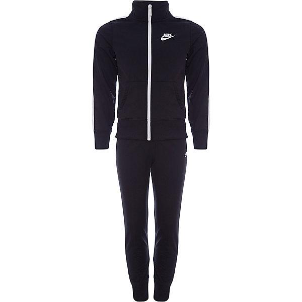 Спортивный костюм NIKEСпортивные костюмы<br>Характеристики товара:<br><br>• цвет: черный<br>• комплектация: олимпийка, брюки<br>• модель: Nike Nsw Track Suit<br>• спортивный стиль, на физкультуру<br>• состав: 100% полиэстер, Nike Dry<br>• сезон: круглый год<br>• мягкий пояс брюк<br>• модель брюк - зауженные к низу<br>• комфортная посадка<br>• молния<br>• манжеты<br>• высокая горловина<br>• небольшой принт<br>• материал дарит ощущение прохлады и комфорт<br>• машинная стирка<br>• износостойкий материал<br>• страна бренда: США<br><br>Спортивный костюм Nike Sportswear, идеально подходящий для ношения в холодную погоду. Теплая толстовка с молнией по всей длине и длинные штаны защищают от холода. Продукция бренда NIKE известна высоким качеством и уникальным узнаваемым дизайном. Удобная посадка не сковывает движения, помогает создать для тела необходимую вентиляцию и вывод влаги.<br><br>Материал обеспечивает вещам долгий срок службы и отличный внешний вид даже после значительного количества стирок. Уход за изделием прост - достаточно машинной стирки на низкой температуре. Качественный материал создает комфортную посадку, вещь при этом смотрится очень стильно. Благодаря универсальному цвету она отлично смотрится с разной одеждой и обувью.<br><br>Этот спортивный костюм Nike Sportswear - удобная и стильная одежда для отдыха и занятий спортом. Спортивный комплект для детей дополнен карманами и контрастными лампасами. Подходит для ношения вместе или по отдельности.<br><br>Спортивный костюм Nike Sportswear можно купить в нашем интернет-магазине.<br>Ширина мм: 247; Глубина мм: 16; Высота мм: 140; Вес г: 225; Цвет: разноцветный; Возраст от месяцев: 84; Возраст до месяцев: 96; Пол: Унисекс; Возраст: Детский; Размер: 122/128,158/170,147/158,137/147,128/137; SKU: 7741917;