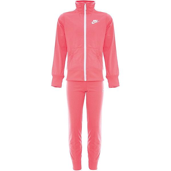 Спортивный костюм NIKEСпортивная одежда<br>Характеристики товара:<br><br>• цвет: розовый<br>• комплектация: олимпийка, брюки<br>• модель: Nike Nsw Track Suit<br>• спортивный стиль, на физкультуру<br>• состав: 100% полиэстер, Nike Dry<br>• сезон: круглый год<br>• мягкий пояс брюк<br>• модель брюк - зауженные к низу<br>• комфортная посадка<br>• молния<br>• манжеты<br>• высокая горловина<br>• небольшой принт<br>• материал дарит ощущение прохлады и комфорт<br>• машинная стирка<br>• износостойкий материал<br>• страна бренда: США<br><br>Спортивный костюм для девочек, идеально подходящий для ношения в холодную погоду. Теплая толстовка с молнией по всей длине и длинные штаны защищают от холода. Продукция бренда NIKE известна высоким качеством и уникальным узнаваемым дизайном. Удобная посадка не сковывает движения, помогает создать для тела необходимую вентиляцию и вывод влаги.<br><br>Материал обеспечивает вещам долгий срок службы и отличный внешний вид даже после значительного количества стирок. Уход за изделием прост - достаточно машинной стирки на низкой температуре. Качественный материал создает комфортную посадку, вещь при этом смотрится очень стильно. Благодаря универсальному цвету она отлично смотрится с разной одеждой и обувью.<br><br>Этот спортивный костюм Nike Sportswear - удобная и стильная одежда для отдыха и занятий спортом. Спортивный комплект для детей дополнен карманами и контрастными лампасами. Подходит для ношения вместе или по отдельности.<br><br>Спортивный костюм Nike Sportswear можно купить в нашем интернет-магазине.<br>Ширина мм: 247; Глубина мм: 16; Высота мм: 140; Вес г: 225; Цвет: разноцветный; Возраст от месяцев: 84; Возраст до месяцев: 96; Пол: Унисекс; Возраст: Детский; Размер: 122/128,158/170,147/158,137/147,128/137; SKU: 7741924;