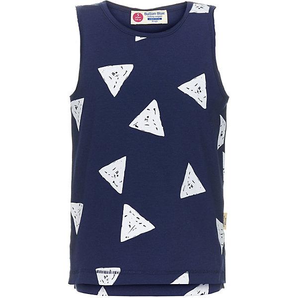 Майка Button Blue для мальчикаФутболки, поло и топы<br>Майка Button Blue для мальчика<br>Трикотажная недорогая майка для мальчика - вещь, необходимая ребенку летом, она прекрасно сочетается с разной одеждой, удобна и комфортна. Модель выполнена в стиле casual, имеет свободную форму, не стесняющую движений. Ее можно носить как повседневную одежду или заниматься в ней спортом и активным отдыхом. Чтобы удачно пополнить гардероб ребенку, можно купить майку для мальчика с интересным орнаментом. Принт с треугольниками выделяет модель и обращает на себя внимание, а приятный синий цвет делает ее очень практичной, так как сочетается со множеством других палитр.<br>Состав:<br>95% хлопок 5%эластан<br>Ширина мм: 199; Глубина мм: 10; Высота мм: 161; Вес г: 151; Цвет: темно-синий; Возраст от месяцев: 24; Возраст до месяцев: 36; Пол: Мужской; Возраст: Детский; Размер: 116,110,104,98,152,158,146,140,134,128,122; SKU: 7746096;